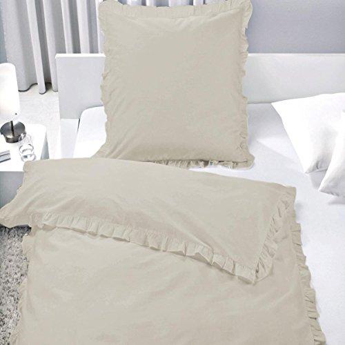 7dreams Romantische Bettwäsche mit Rüschen 100% Baumwolle 135x200cm/80x80cm - Besonders Weich - mit Reißverschluss