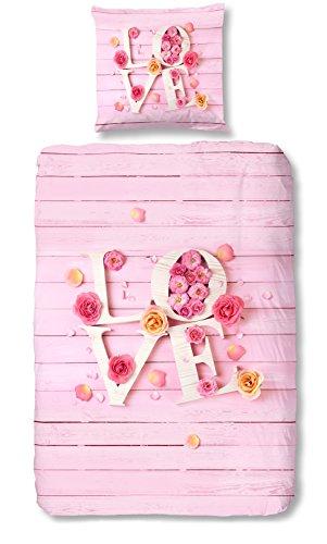 Aminata – vintage Bettwäsche 135x200 cm Mädchen Rosen Liebe Love Baumwolle + Reißverschluss Rosa Pink Blumen Blümchen Landhausstil Fotodruck Kinderbettwäsche Bettwäscheset Bettbezug Ganzjahr