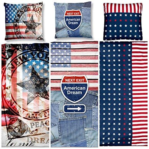 Aminata Kids – Bettwäsche 135x200 cm Kinder Jungen Mädchen USA | verschiedene Designs | Baumwolle Reißverschluss Rot Blau US Flagge Sterne Amerika Kinderbettwäsche Bettwäscheset Bettbezug Normalgröße