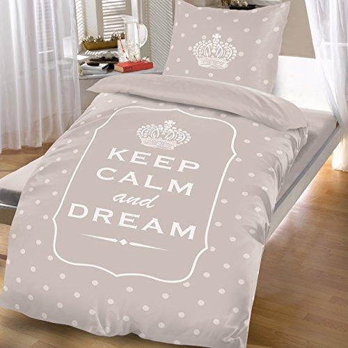 Bertels Textilhandels GmbH Mikrofaser Bettwäsche Wende 135x200 cm 2 tlg Keep Calm and Dream Spruch Braun