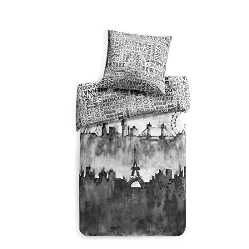 Bettwäsche 135x200cm Schwarz 100% Baumwolle 2-teilig Bettbezug & Kissenbezug 80x80cm Renforcé Wendebettwäsche mit Skyline & Schriftzügen Ideal für Schlafzimmer City Scape