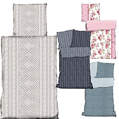Bettwäsche Bettbezug 2 teilg BAUMWOLLE 135cm x 200cm von JEMIDI Bettgarnitur Bett Wäsche Betten Decke Überzug Bezug Set Vintage Retro