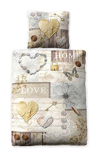 """Bettwäsche Digitaldruck 100% Baumwolle Design """"Romantic Cottage"""" verschiedene Größen"""