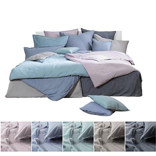 Bettwäsche Renforce Stone Washed ca. aus 100% Baumwolle Leinen-Optik & Knitter-Look, OekoTex