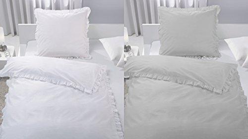 Bettwäsche SET Rüschen Romantik Vintage weiß taupe 135x200 cm Baumwolle TOP