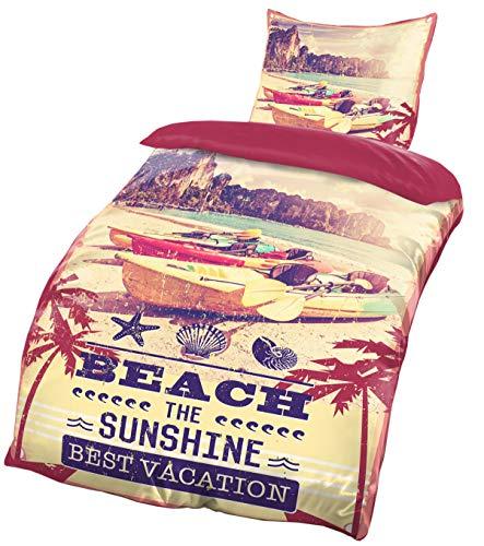 Brandsseller -Hochwertige Wende-Bettwäsche Vintage Beach Microfaser Set Boote Bettbezug: 135 x200 cm Kissenbezug: 80 x80 mit Reißverschluss