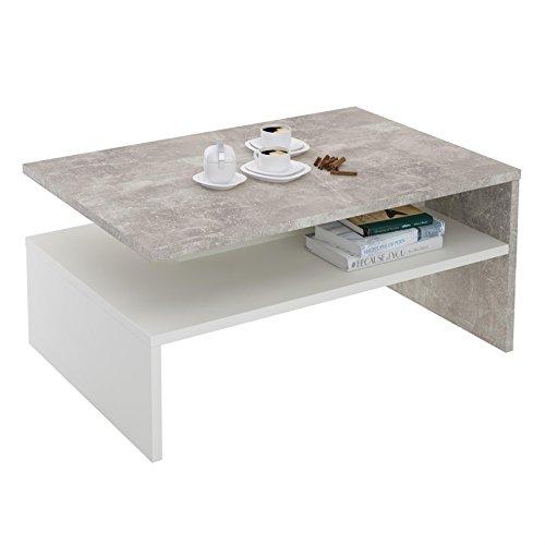 CARO-Möbel Couchtisch Paulina Beistelltisch Wohnzimmertisch in Beton Optik/Weiß mit Ablagefach 90 x 60 cm