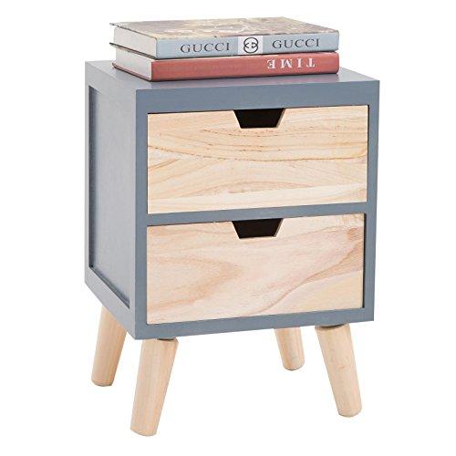 CARO-Möbel Nachttisch Bahia im Skandinavischen Design Nachtschrank Nachtkonsole in Grau/Natur, 2 Schubladen Vintage Retro