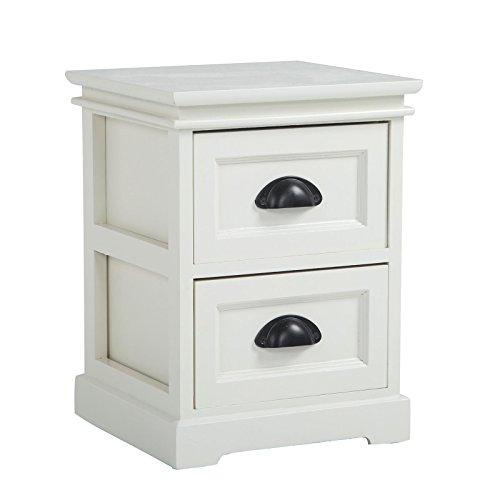 CARO-Möbel Nachttisch Nachtschrank Nachtkommode Landhaus in Weiß, Shabby Chic Vintage Look, mit 2 Schubladen