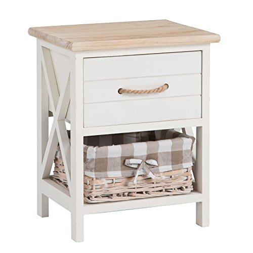 CARO-Möbel Nachttisch Nachtschrank Nachtkommode Perugia in Weiß, Shabby Chic Vintage Look, mit Schublade und Korb
