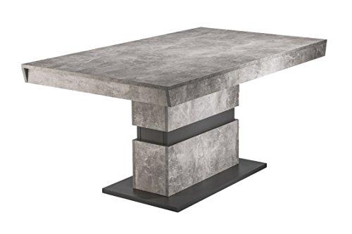 CAVADORE Esszimmertisch Marley/Moderner Küchentisch/Auszugstisch in Light Atelier Beton Optik grau