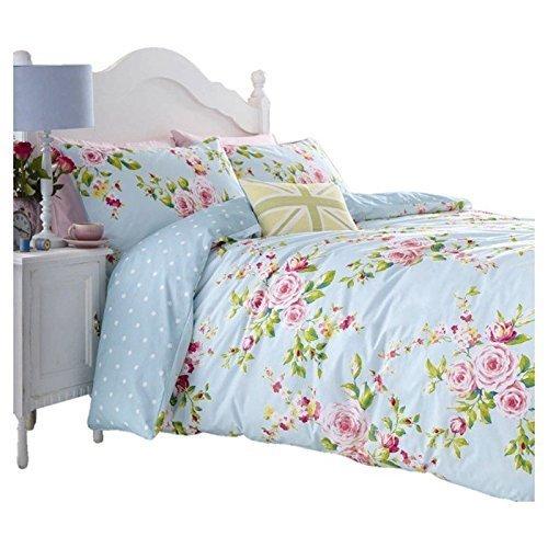 Catherine Lansfield Canterbury Blau Vintage Blumen Aufdruck Umdrehbares Bettwäsche Set