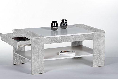 Couchtisch beton / weiss mit einer Ablage und einem Schubkasten