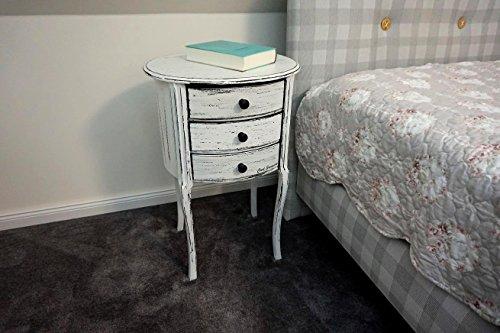 Design Nachttisch Boxspringbett Nachtkommode BT-3 Weiß Vintage Used Look