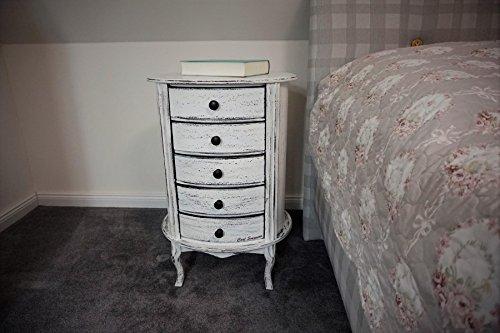 Design Nachttisch Boxspringbett Nachtkommode BT-5 Weiß Vintage Used Look