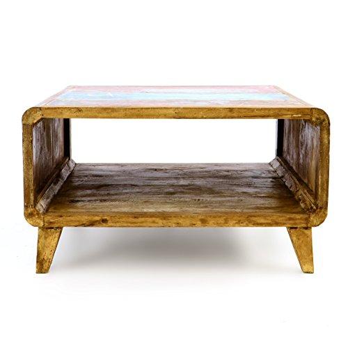 Divero Vintage Couchtisch TV-Tisch Beistelltisch – Shabby Chic Möbel Unikate aus Recycling-Holz Bootsholz – Bunt 80 x 80 x 45 cm