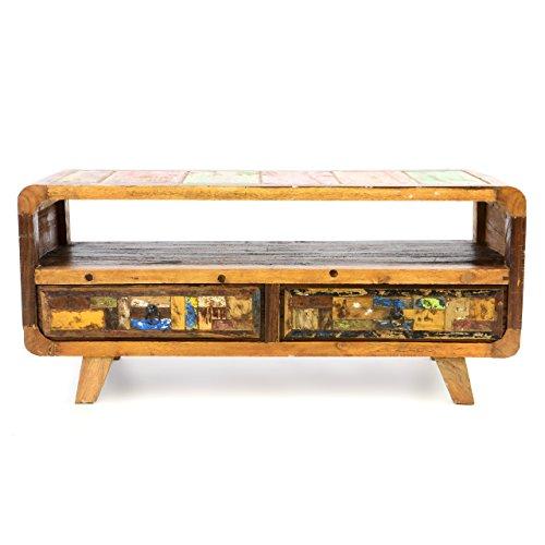 Divero Vintage TV Schrank Phonomöbel Sideboard Kommode – Shabby Chic Möbel Unikate aus Recycling-Holz Bootsholz – Bunt 100 x 42 x 45 cm