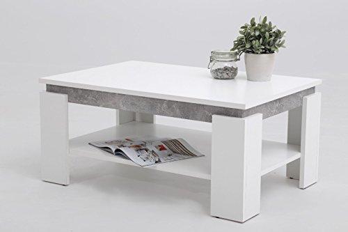 Eternity-Möbel Couchtisch Beistelltisch Magda 90x60x41 cm Weiß/Beton mit Ablageboden