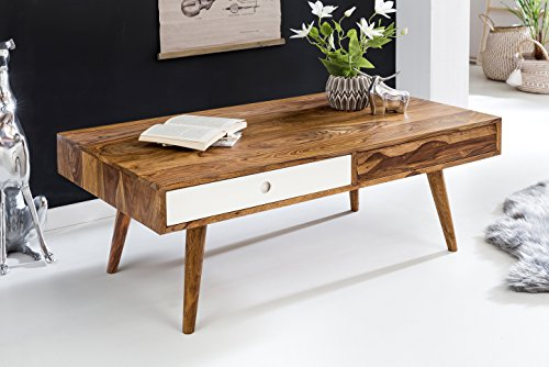 FineBuy Retro Couchtisch APERA Massivholz 117 x 60 x 40 cm mit 2 Schubladen | Design Wohnzimmertisch Sheesham Holz | Wohnzimmer Lounge Tisch Palisander Massiv