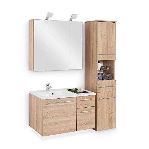 Galdem Badmöbel-Set mit Waschbecken Unterschrank Hochschrank Spiegelschrank Beleuchtung Waschtisch 80 cm Badezimmer Komplettbad Eiche Sägerau