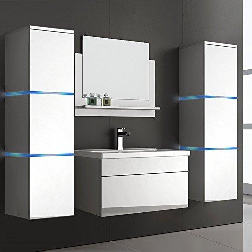 Home Deluxe | Badmöbel-Set | Wangerooge weiß | inkl. Waschbecken und komplettem Zubehör | verschiedene Größen