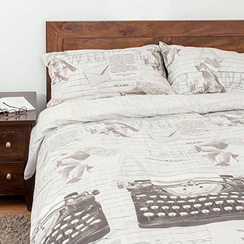 Homescapes Vintage Bettwäsche mit Schreibmaschinen - Motiv