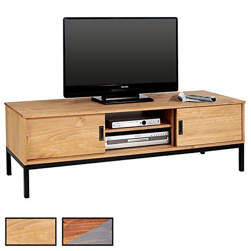 IDIMEX Lowboard TV Möbel SELMA, Fernsehtisch Fernsehschrank im industrial Design mit 2 Schiebetüren 1 offenes Fach, Kiefer massiv