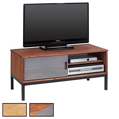 IDIMEX Lowboard TV Möbel Selma, Fernsehtisch Fernsehschrank im Industrial Design mit 1 Schiebetür 1 Offenes Fach, Kiefer massiv