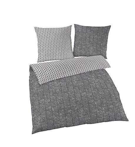 IDO Biber Bettwäsche PUNKTE & SCHIEFER VINTAGE OPTIK anthrazit, grau Wendemotiv 2 teilig - Kissenbezug 80x80 + Bettbezug 135x200 cm - 100 % Baumwolle - hergestellt in Deutschland
