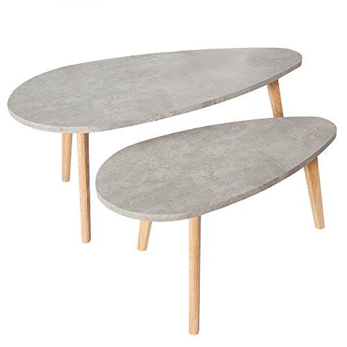 Invicta Interior Retro 2er Set Couchtisch Scandinavia Cement Echt Eiche Beton-Optik Tische Satztische Tischset