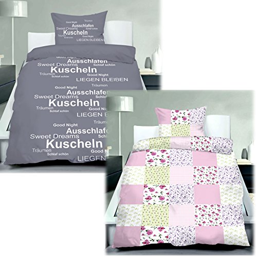 JEMIDI Bettwäsche Garnitur Bettbezug Microfaser 135cm x 200cm + 80cm x 80cm Bettgarnitur Bettbezüge