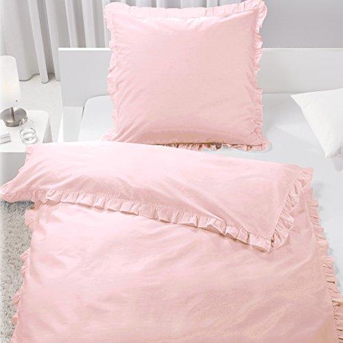 JEMIDI Bettwäsche mit Rüschen 2 teilg 135cm x 200cm Bettbezug Bettgarnitur Bett Wäsche Betten Rose Decke Überzug Bezug Set Vintage Retro