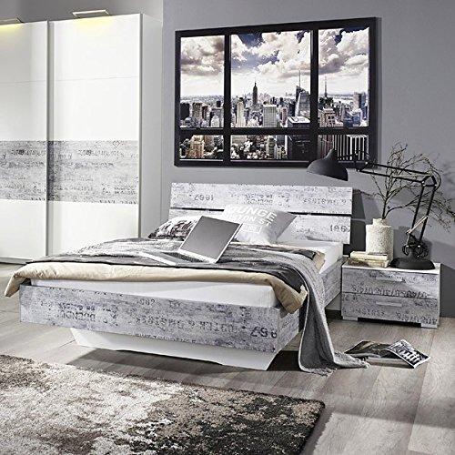 Jugendbett 90*200 cm inkl Nachtkommode weiß / grau vintage Jugendliege Bettliege Bett Bettgestell Jugendzimmer Kinderzimmer Schlafzimmer