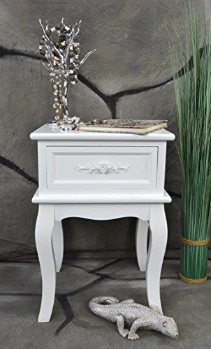 Livitat Nachttisch Nachtschrank Nachtkonsole Nachschränckchen Nachtkommode Weiß barock