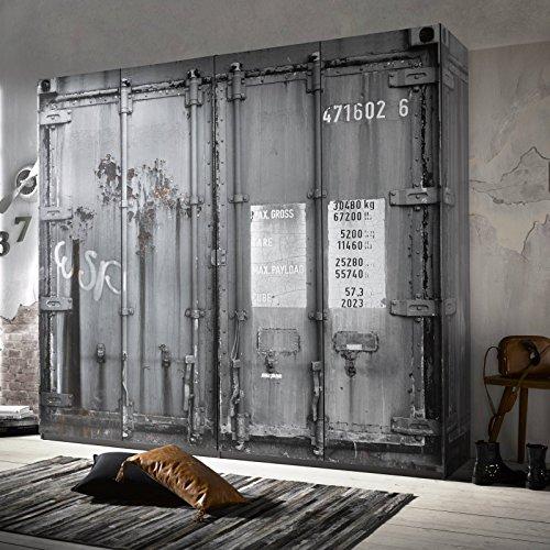 MACOShopde by MACO Möbel Kleiderschrank 4-Türig Holz Grau Container Vintage Industrie Design 240cm