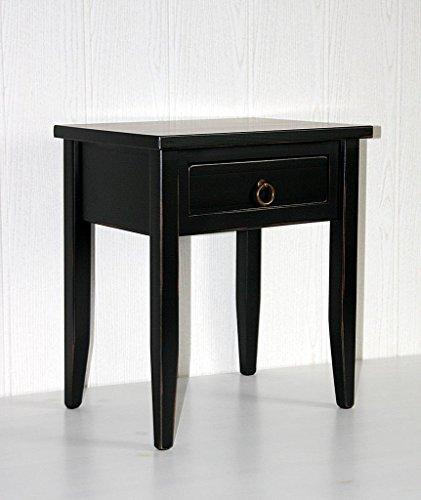 Massivholz Nachttisch Nachtkommode Beistelltisch schwarz shabby chic