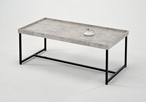 Meubletmoi Couchtisch rechteckig 120cm–Fuß Metall–Tablett Effekt Beton–zeitgenössischen industriellen Stil–Luna 120