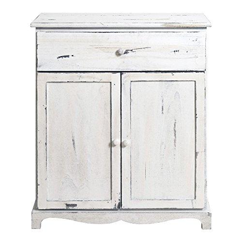Mobili Rebecca Anrichte Sideboard Holzgehäuse weißer Vintage Shabby Chic mit 2 Türen 1 Schublade Landhausstil Rustikal (Kode RE4464)