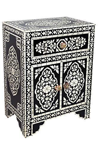 Orientalischer Holz Nachttisch Weiß 60cm Hoch | Orient Vintage Nachtkommode Orientalisch Handbemalt | Indischer Nachtschrank auch für Boxspringbett | Asiatische Möbel aus Indien