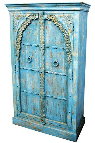 Orientalischer kleiner Schrank Kleiderschrank Baya 160cm hoch | Marokkanischer Vintage Dielenschrank schmal | Orientalische Schränke aus Holz massiv für den Flur, Schlafzimmer, Wohnzimmer oder Bad