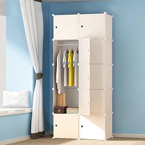PREMAG Wood Pattern Portable Garderobe für Hängende Kleidung, Kombischrank, modulare Schrank für platzsparende, Ideale Storage Organizer Cube für Bücher, Spielzeug, Handtücher
