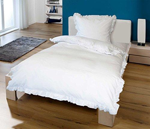 PremiumShop321 Goldmond Bettwäsche weiß mit Rüschen 135x200/80x80 von KBT 100% Baumwolle
