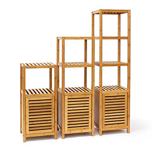 Relaxdays Badregal Bambus mit 3, 4 oder 5 Ablageflächen Standregal mit Tür Regal aus Holz für Bad und Wohnzimmer Holzregal mit 3, 4 oder 5 Fächern, natur