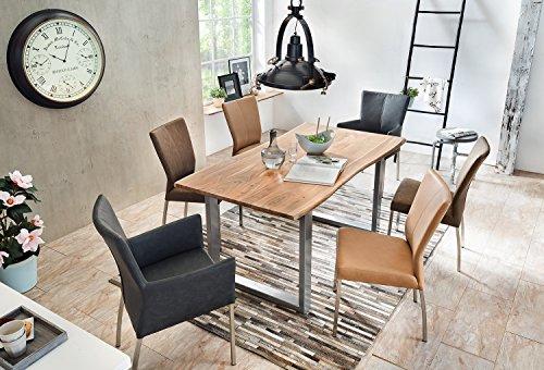 SAM® Stilvoller Esszimmertisch IDA aus Akazie-Holz, Baumkantentisch mit lackierten Beinen aus Roheisen, naturbelassene Optik mit Einer Baumkanten-Tischplatte