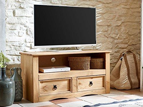 SAM® TV Board aus Kiefernholz, Mexico-Möbel, Lowboard mit 2 Schubfächern, gewachst, schwarze Metallgriffen, 108 x 44 cm [521547]