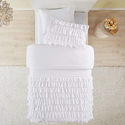SCM Bettwäsche 135x200cm Weiß Rüschen Uni Einfarbig Romantisch & Weich 2-teilig Bettbezug & Kissenbezug 50x75cm Mikrofaser Ideal für Schlafzimmer Waterfall