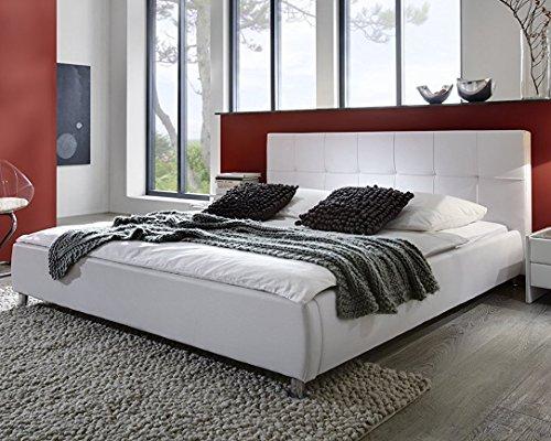 Sam Polsterbett weiß 180x200 cm, Bett mit Chrom-farbenen Füßen, Kopfteil Modern im abgesteppten Design, Doppelbett Auch als Wasserbett Geeignet [53256018]