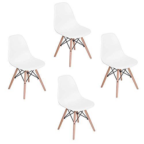 Teamyy Wohnzimmerstuhl Esszimmerstuhl Bürostuhl 4 x Designer Kunststoff Eiffel Weiß