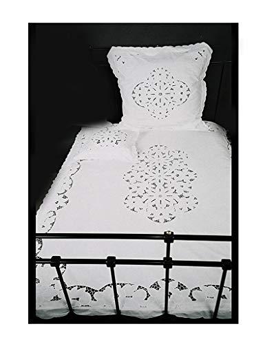 Trendoro Nostalgie Bettwäsche, Romantische Bettwäsche Garnitur: Bettbezug 135 x 200 cm und Kissenbezug 80 x 80 cm mit Richelieu Spitze, weiß, Vintage-, Shabby-, Landhausstil
