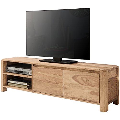 WOHNLING Lowboard Massivholz Kommode 140 cm TV-Board Ablage-Fächer Landhaus-Stil dunkel-braun Unterschrank TV-Möbel Echt-Holz 40 cm hoch Sideboard Deko Fernsehschrank offen Natur-Produkt